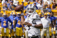 Western Michigan quarterback Kaleb Eleby (5) throws a pass during the first half of an NCAA college football game against the Pittsburgh, Saturday, Sept. 18, 2021, in Pittsburgh. (AP Photo/Keith Srakocic)