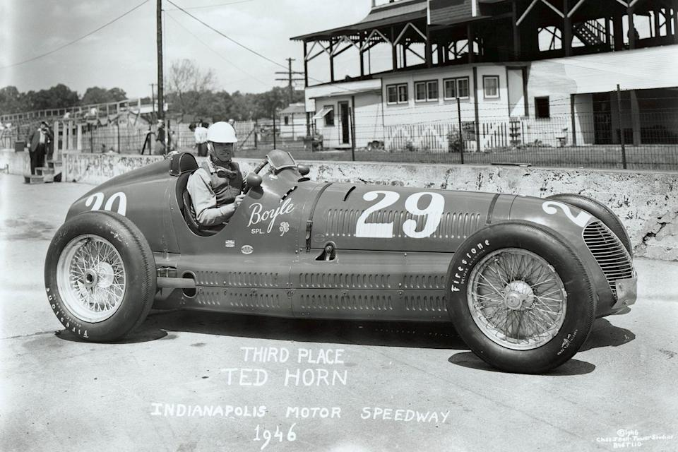 """Getting his hands on the aging but beautiful and still swift Maserati 8CTF in 1946, Horn was able to claim third once more. <span class=""""copyright"""">Indianapolis Motor Speedway</span>"""