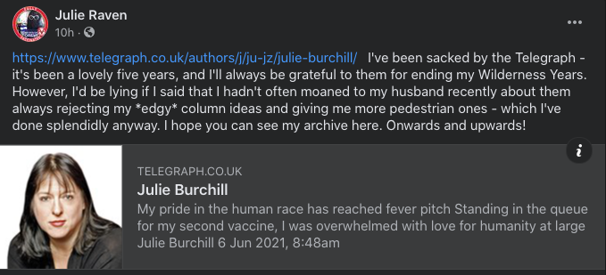 A screenshot of a Facebook post by former Telegraph journalist Julie Burchill who was fired after posting a 'racist' tweet about Prince Harry and Meghan Markle's daughter, Lili