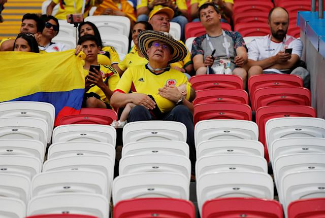 Soccer Football - World Cup - Group H - Poland vs Colombia - Kazan Arena, Kazan, Russia - June 24, 2018 Colombia fans in the stadium before the match REUTERS/Toru Hanai