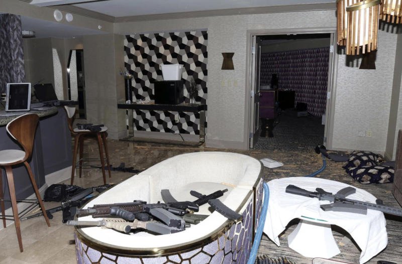 FILE - This October 2017 file photo released by the Las Vegas Metropolitan Police Department Force Investigation Team Report shows the interior of Stephen Paddock's 32nd floor room of the Mandalay Bay hotel in Las Vegas after a mass shooting. A federal judge wants Nevada's highest court to tell him whether gun manufacturers and sellers can be held liable under state law for negligence and wrongful death in the case of a Seattle woman killed in the Las Vegas Strip mass shooting in 2017. (Las Vegas Metropolitan Police Department via AP, File)