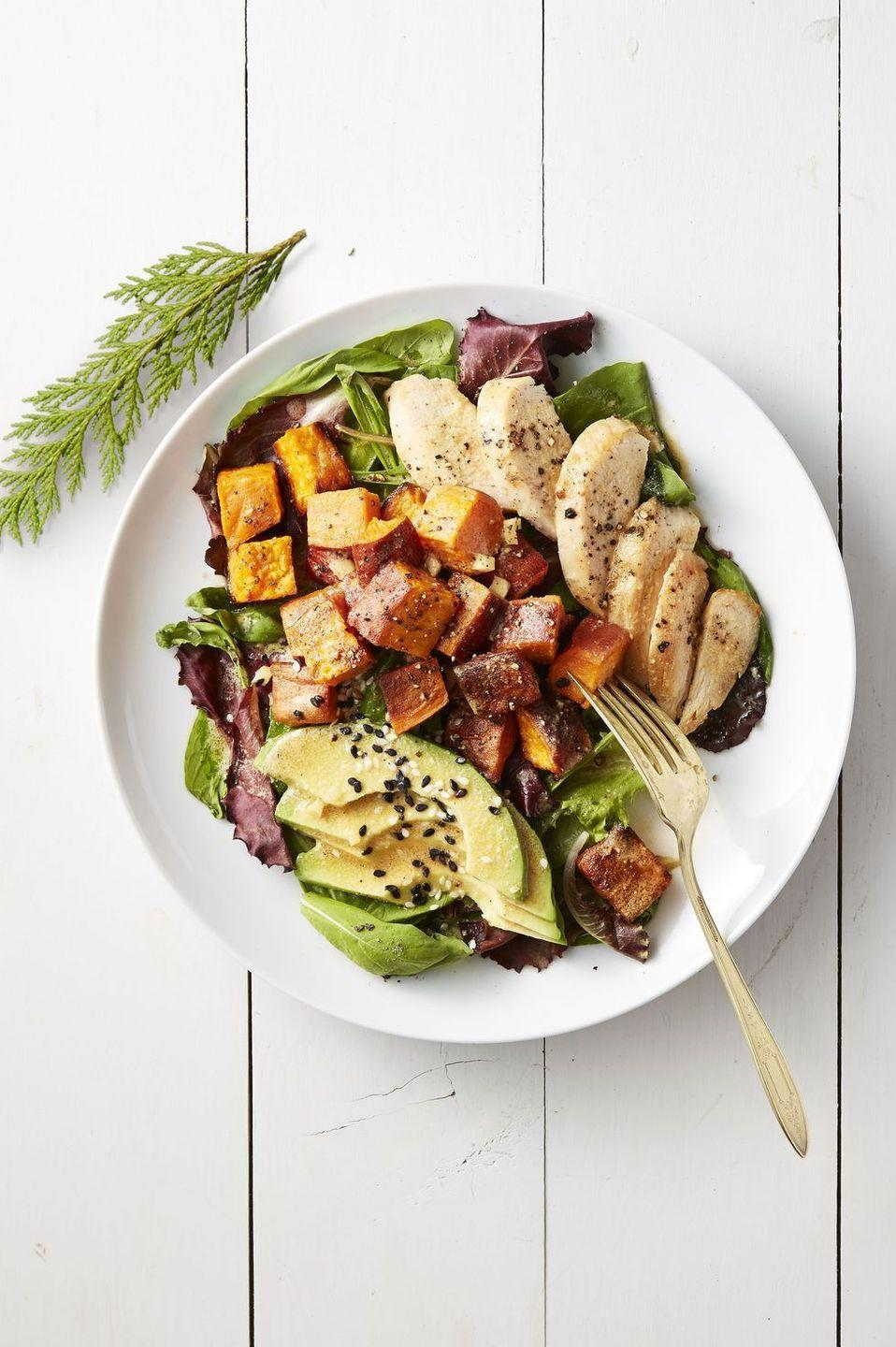 """<p>As long as you didn't only serve mashed potatoes, you can top this protein-packed solid with roasted sweet potatoes. </p><p><em><a href=""""https://www.goodhousekeeping.com/food-recipes/easy/a42180/roasted-sweet-potato-and-chicken-salad-recipe/"""" rel=""""nofollow noopener"""" target=""""_blank"""" data-ylk=""""slk:Get the recipe for Roasted Sweet Potato and Chicken Salad »"""" class=""""link rapid-noclick-resp"""">Get the recipe for Roasted Sweet Potato and Chicken Salad »</a></em></p>"""