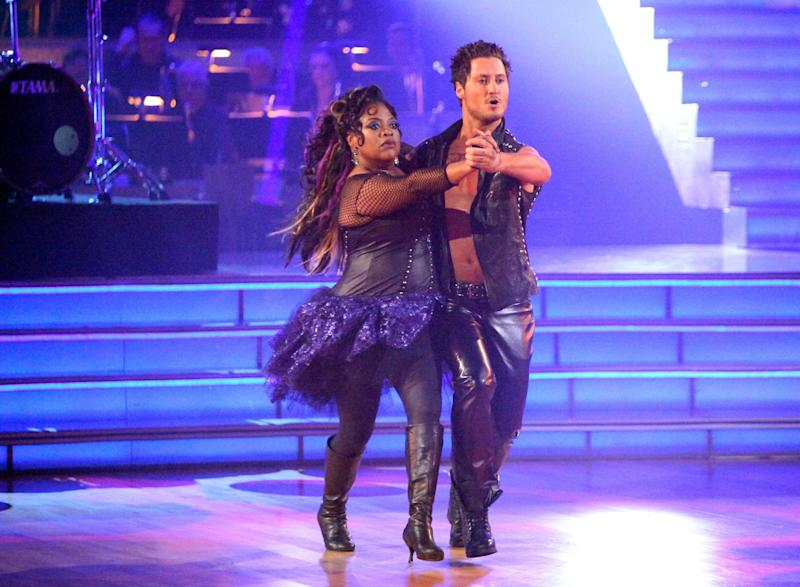 """In this April 9, 2012 photo released by ABC, TV personality Sherri Shepherd and her partner Val Chmerkovskiy perform on the celebrity dance competition series """"Dancing with the Stars,"""" in Los Angeles. (AP Photo/ABC, Adam Taylor)"""