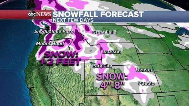 PHOTO: Additional snow is also forecast in the Northwest where locally 1 to 2 feet of snow is expected in the Cascades of Washington and Oregon. (ABC News)