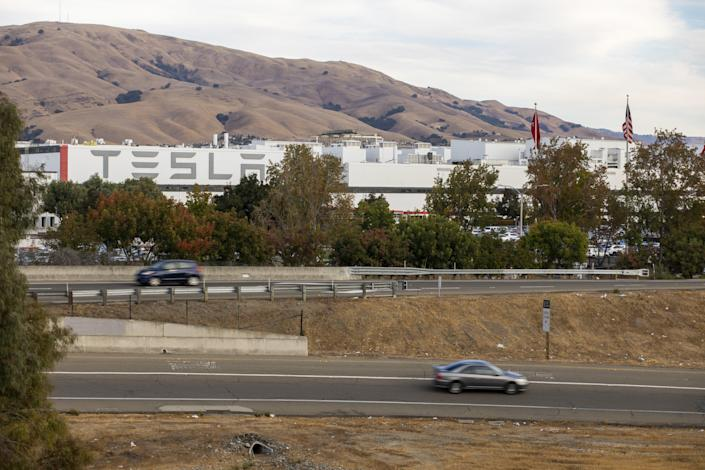 The Tesla factory in Fremont, Calif. (John Brecher / For NBC News)