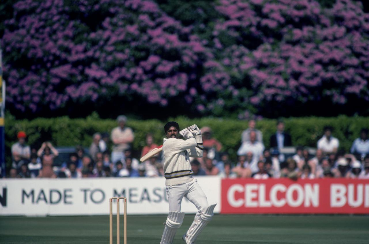 Indian cricket captain Kapil Dev during his record innings of 175 not out off 138 balls against Zimbabwe in the Cricket World Cup at Nevill Ground, Tunbridge Wells, Kent, 18th June 1983. India won the match by 31 runs and later won the tournament. (Photo by Trevor Jones/Getty Images)