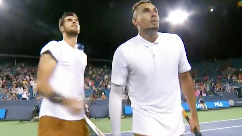Nick Kyrgios, pictured here, appeared to spit towards the umpire. Image: ESPN