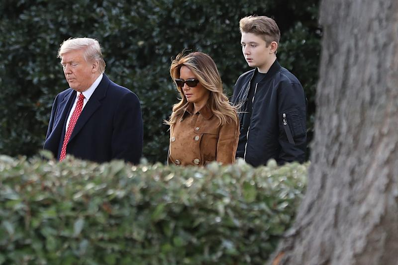 President Donald Trump, first lady Melania Trump and their son Barron Trump leave the White House for Florida for the Thanksgiving holiday at his Mar-a-Lago resort in Palm Beach.