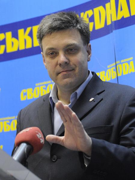 Oleh Tyahnybok, leader of the of nationalist Svoboda (Freedom) speaks to the media during his press conference in Kiev, Ukraine, Monday, Oct. 29, 2012. Ukrainian President Viktor Yanukovych's party headed toward victory in parliamentary elections but its grip on power appeared to be weakened, with the far-right Svoboda (Freedom) party taking 8 percent of the popular vote. (AP Photo/Sergei Chuzavkov)