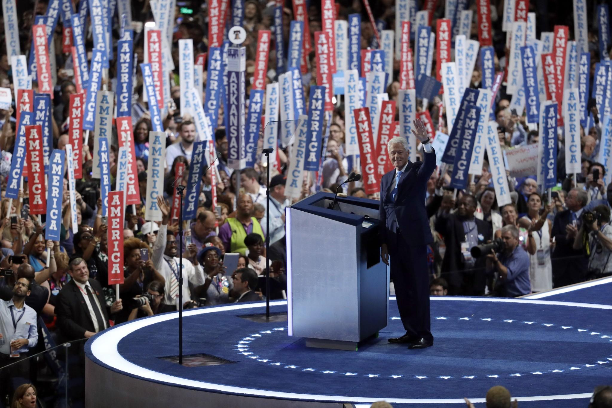 Former President Bill Clinton at the Democratic National Convention on Tuesday. (Photo: John Locher/AP)