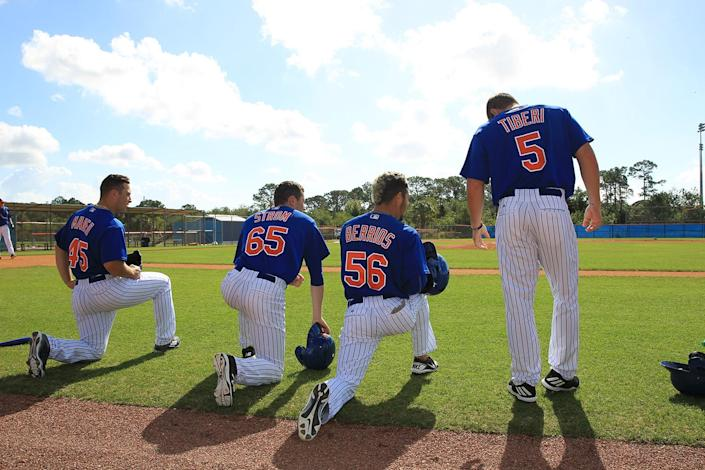 <p>New York Mets prospects get ready to participate in morning workouts at the New York Mets spring training facility in Port St. Lucie, Fla., Monday, Feb. 27, 2017. (Gordon Donovan/Yahoo Sports) </p>