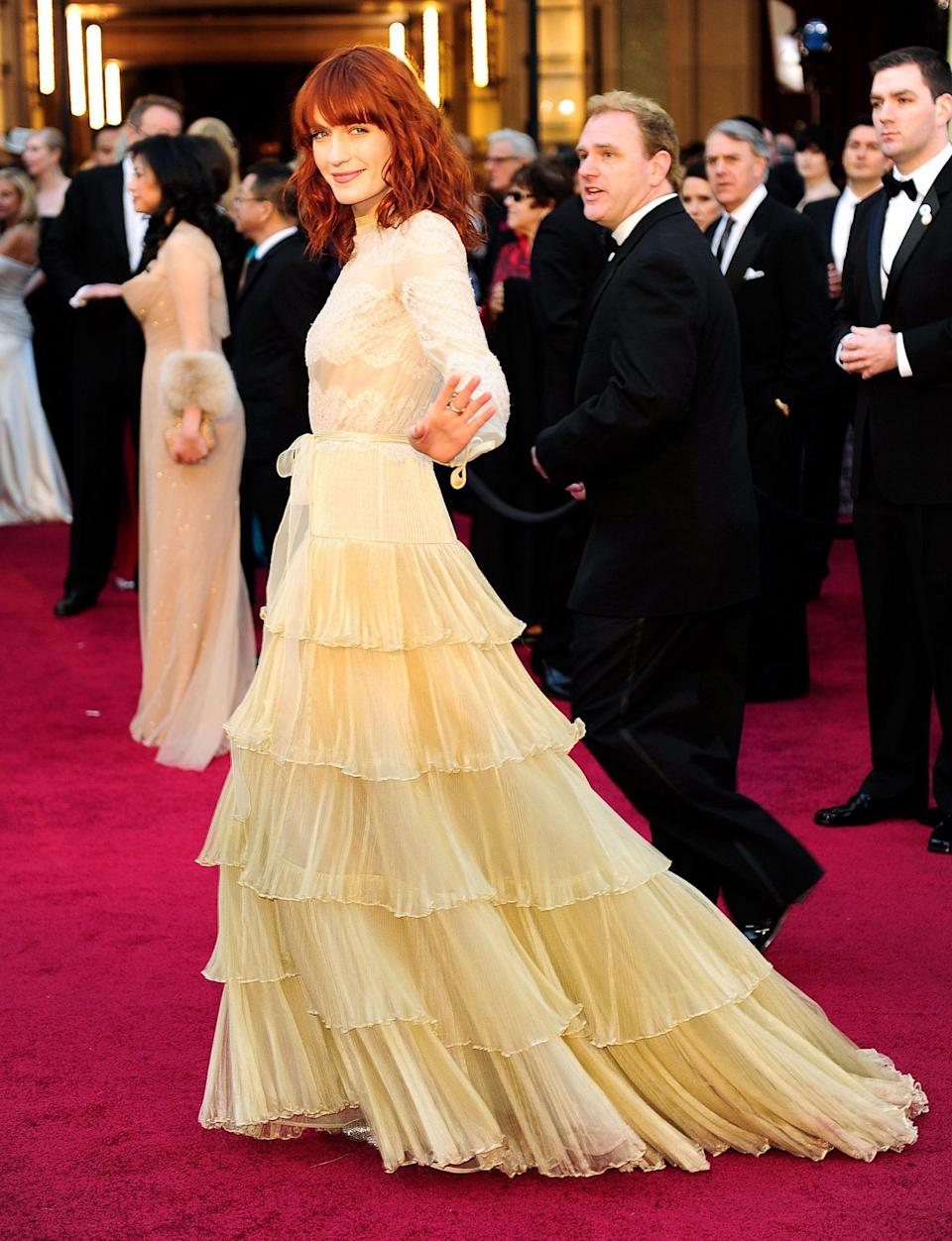 """<p>Florence Welch looked ethereal as she arrived for the Academy Awards in 2011. The Florence + The Machine singer performed """"If I Rise"""" from <em>127 Hours</em>, which was nominated for Best Original Song. </p>"""