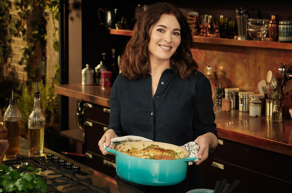 Nigella's Cook, Eat, Repeat. Picture Shows: Chicken in a pot with orzo. (BBC - Photographer: Jay Brookes)