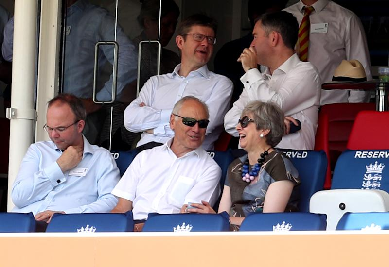 Former Prime Minister Theresa May in the stands during day two of the Specsavers Test Series match at Lord's, London.