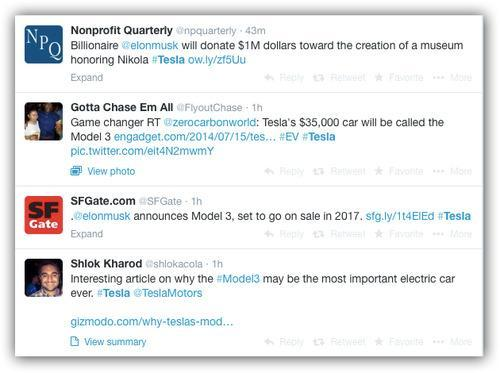 Tweets with Tesla hastag