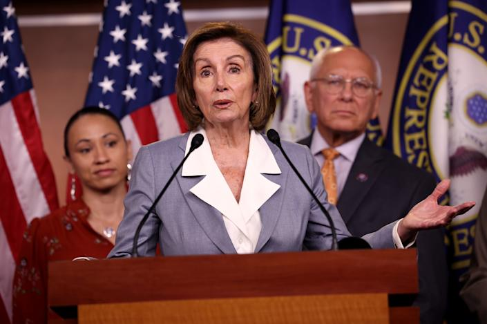 House Speaker Nancy Pelosi, D-Calif., speaks alongside Rep. Sharice Davids, D-Kans., and Rep. Paul Tonko, D-N.Y. at a press conference in Washington, D.C. on June 30, 2021. (Kevin Dietsch/Getty Images)