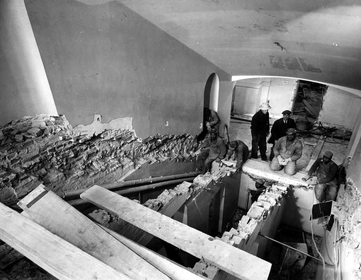 "Feb. 23, 1950: ""View from the first floor landing to the basement during the removal of the Joliet stone steps from the main stairway of the White House."" -- National Archives"