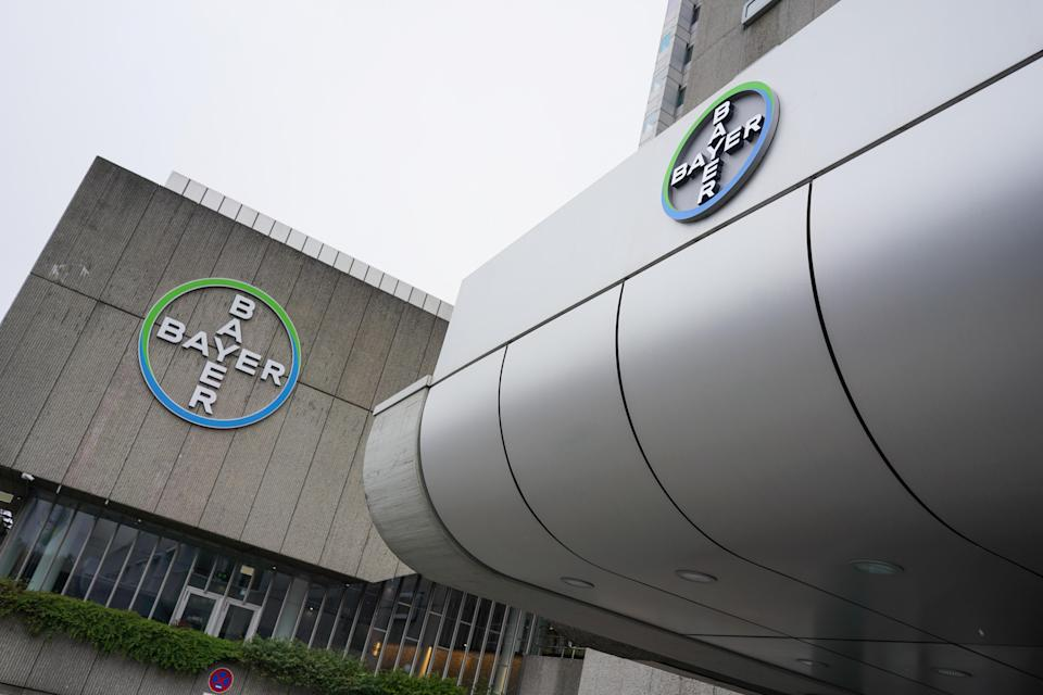 30 March 2020, Berlin: View of the logo of the chemical company Bayer AG on Müllerstraße. Photo: Jörg Carstensen/picture alliance via Getty Images