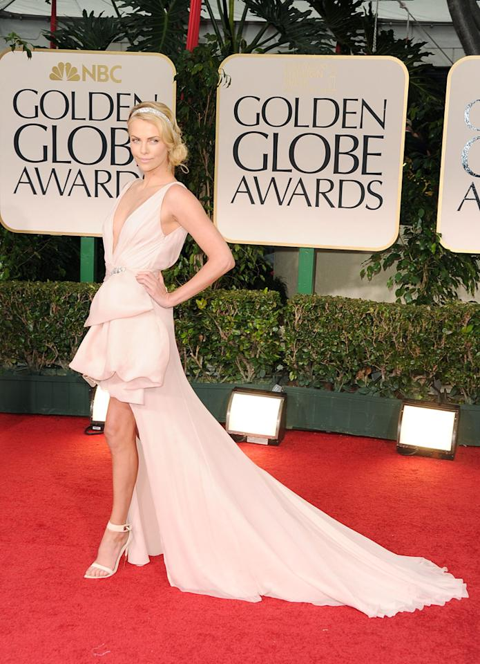 Charlize Theron arrives at the 69th Annual Golden Globe Awards in Beverly Hills, California, on January 15.