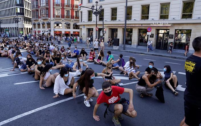 Students demonstrate during a one day strike called by trade unions to protest the Basque regional government's response to the Covid 19 crisis in education - Reuters