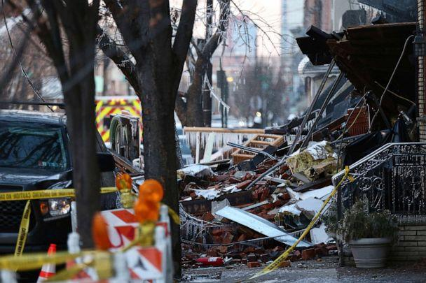 PHOTO: Debris is scattered at the scene of Thursday's explosion and fire that destroyed several row homes in Philadelphia, Dec. 20, 2019. (The Philadelphia Inquirer via AP)