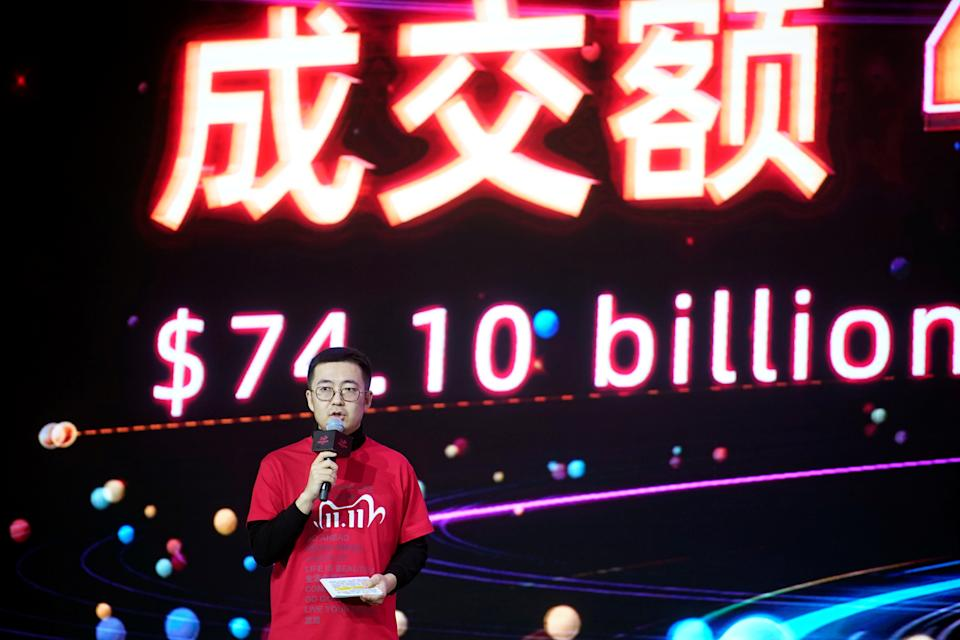 Alibaba Group's Taobao and Tmall president Jiang Fan speaks at Alibaba Group's Singles' Day global shopping festival at a media center in Hangzhou, Zhejiang province, China November 12, 2020. REUTERS/Aly Song