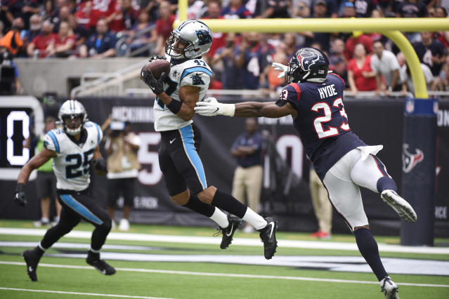 Carolina Panthers defensive back Ross Cockrell (47) makes interception against the Houston Texans during the first half of an NFL football game Sunday, Sept. 29, 2019, in Houston. (AP Photo/Eric Christian Smith)