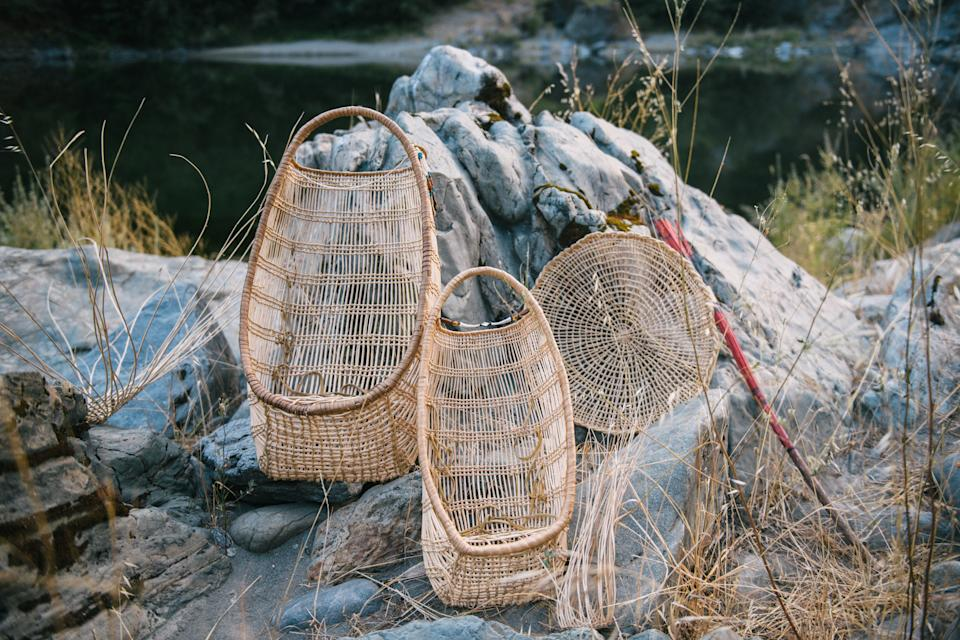 Baskets woven by Margo Robbins. (Alexandra Hootnick for Yahoo News)