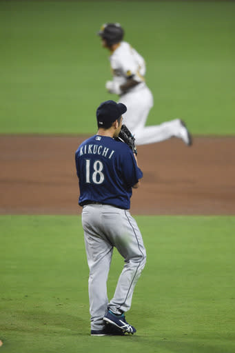 Seattle Mariners starting pitcher Yusei Kikuchi (18) looks to the outfield after giving up a two-run home run to San Diego Padres Manny Machado during the fourth inning of a baseball game Friday, Sept. 18, 2020, in San Diego. (AP Photo/Denis Poroy)