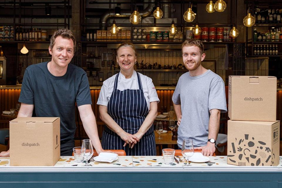 Peter Butler and James Terry, co-founders of Dishpatch and Angela Hartnett, chef owner of Cafe Murano (Handout)