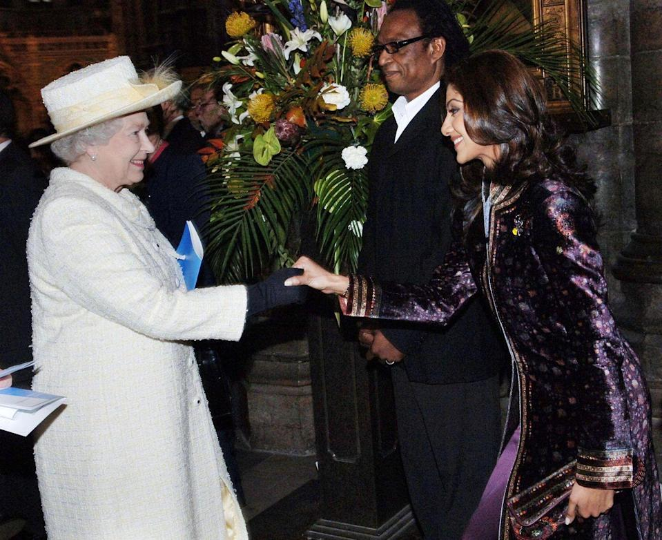 <p>Bollywood actress Shilpa Shetty wore an ornate purple velvet coat during the Commonwealth Day Observance at Westminster Abbey, where she met Queen Elizabeth.</p>
