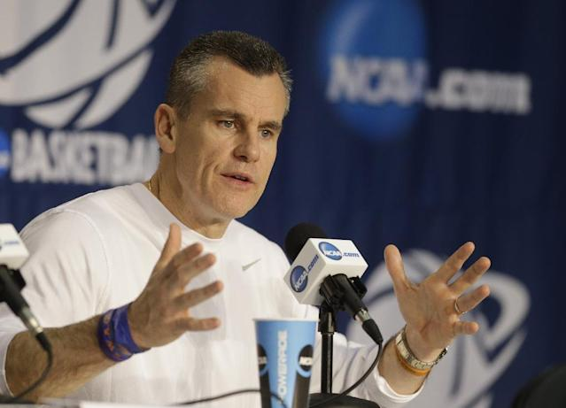 Florida coach Billy Donovan speaks during a news conference at the NCAA college basketball tournament Friday, March 21, 2014, in Orlando, Fla. Florida pays Pittsburgh in a third-round game on Saturday.(AP Photo/John Raoux)