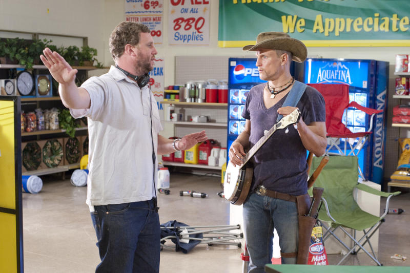 Director Ruben Fleischer (left) and Woody Harrelson on the set of Columbia Pictures' comedy ZOMBIELAND.