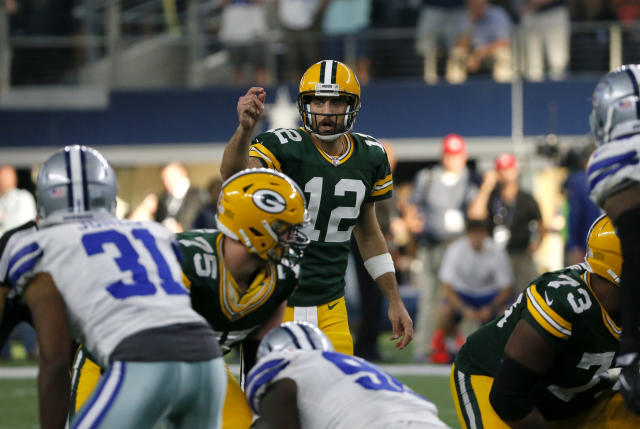 "<a class=""link rapid-noclick-resp"" href=""/nfl/teams/gnb"" data-ylk=""slk:Green Bay Packers"">Green Bay Packers</a> QB Aaron Rodgers is healthy again, and will be on prime time often during the 2018 season. (AP)"