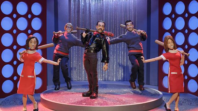 Negan shows off his trademark dip in'The Robot Chicken Walking Dead Special: Look Who's Walking' (Photo: Courtesy of Adult Swim)