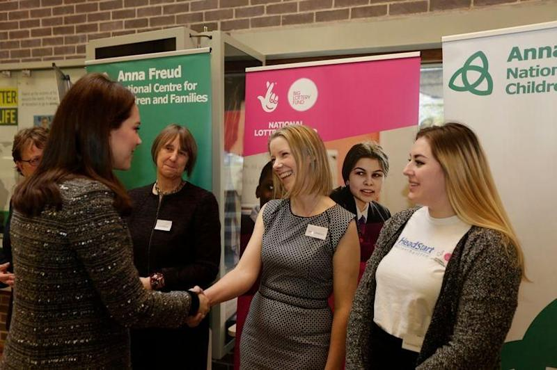 The Anna Freud Centre Tweeted their delight at the Duchess' visit on Thursday commending how committed she is to the cause. Photo: REX