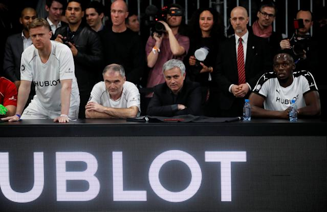 Soccer Football - Hublot Match of Friendship - Congress Center, Basel, Switzerland - March 21, 2018 Jose Mourinho with members of Team Jose Mourinho, Damien Duff, Stephane Chapuisat and Usain Bolt REUTERS/Arnd Wiegmann