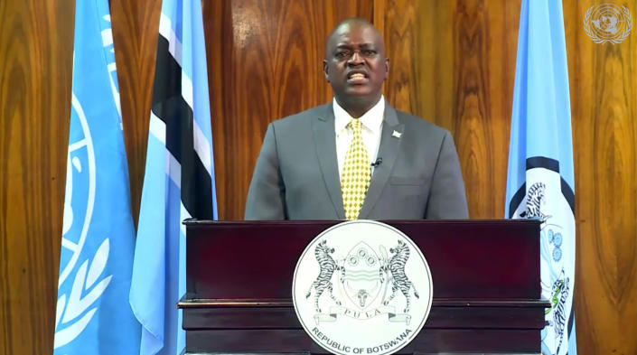 In this image made from UNTV video, Mokgweetsi Masisi, President of Botswana, speaks in a pre-recorded message which was played during the U.N. General Assembly's special session to discuss the response to COVID-19 and the best path to recovery from the pandemic, Thursday, Dec. 3, 2020, at U.N. headquarters, in New York. (UNTV via AP)