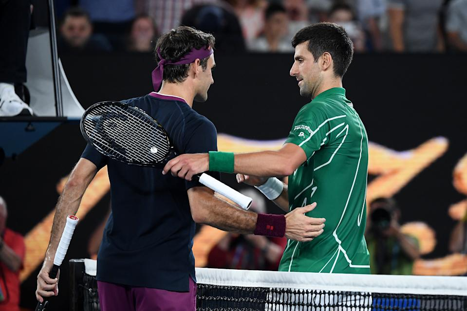 Novak Djokovic shakes hands with Roger Federer after their Men's Singles Semifinal match at the 2020 Australian Open.