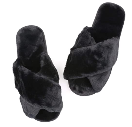 Topgalaxy.Z Fuzzy Slippers in black