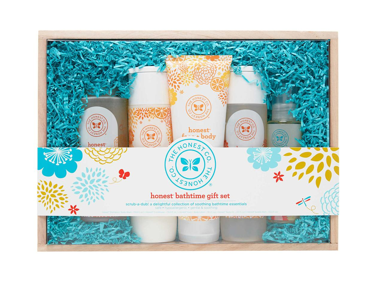 """<p>""""I am obsessed with all Honest products! I love their diapers, wipes, hand sanitizer spray, organic healing balm, sunscreen, and especially their bath products. They aren't made with harsh chemicals and they are safe and super gentle (perfect for a new baby!).""""</p><p>Buy it <a rel=""""nofollow"""" href=""""https://www.buybuybaby.com/store/product/honest-bath-time-gift-set/1020207427"""">here</a> for $50.</p>"""