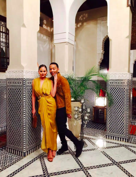 "<p>The beautiful — and funny — couple is enjoying some time away from La La Land. She shared this photo op, snapped in a stunning room with tall pillars and black-and-white tiles, on Instagram, exclaiming, ""Marrakech!"" (Photo: <a rel=""nofollow"" href=""https://www.instagram.com/p/BRy-MjSjeWq/?taken-by=chrissyteigen&hl=en"">Instagram</a>) </p>"