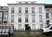 The exterior of the Embassy of Saudi Arabia is pictured after unidentified assailants sprayed it with gunfire, in The Hague