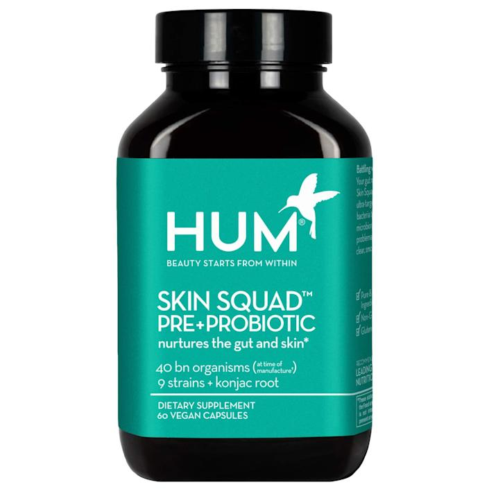 """<h3>Hum Nutrition Skin Squad Pre+Probiotic</h3><br><strong>Rachel</strong><br><br>""""This SAVED my skin!! I couldn't figure out why my breakouts wouldn't go away, and from there I started learning more about how my gut impacts my skin. Game. Changer.""""<br><br><strong>Hum Nutrition</strong> Skin Squad Pre+Probiotic, $, available at <a href=""""https://amzn.to/2ADTTOq"""" rel=""""nofollow noopener"""" target=""""_blank"""" data-ylk=""""slk:Amazon"""" class=""""link rapid-noclick-resp"""">Amazon</a>"""