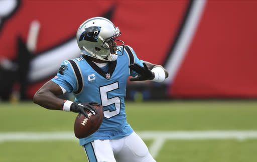 Carolina Panthers quarterback Teddy Bridgewater (5) throws a pass during the second half of an NFL football game against the Tampa Bay Buccaneers Sunday, Sept. 20, 2020, in Tampa, Fla. (AP Photo/Jason Behnken)