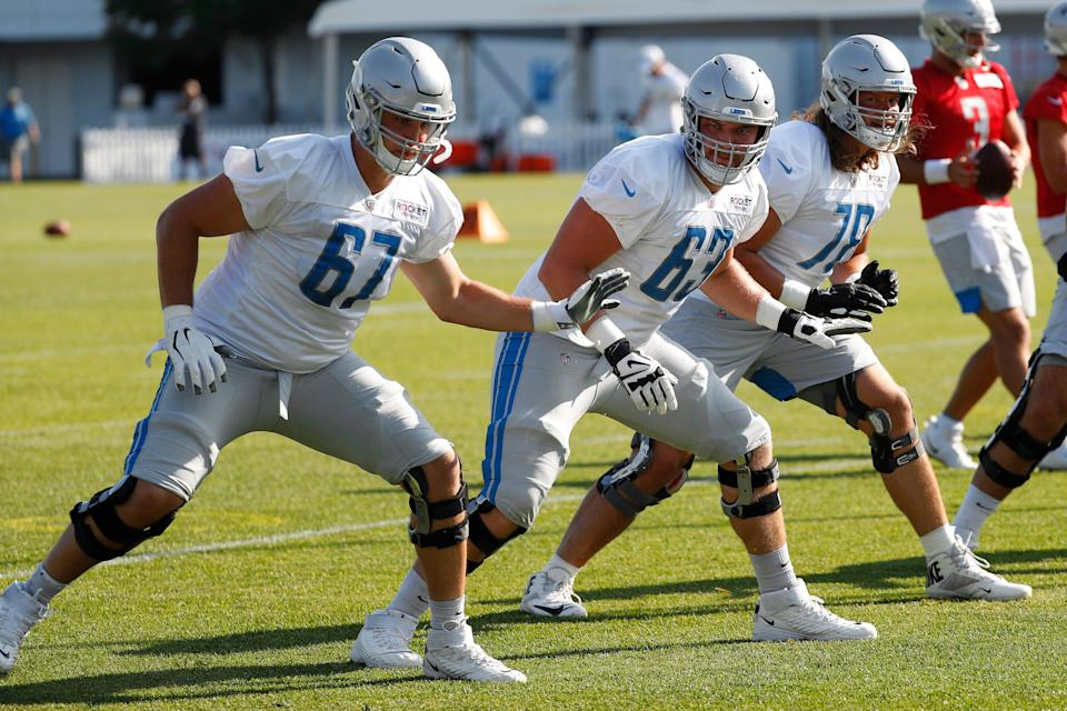 Former Iowa defensive lineman Matt Nelson (67) is now trying to make the Detroit Lions as an offensive tackle.