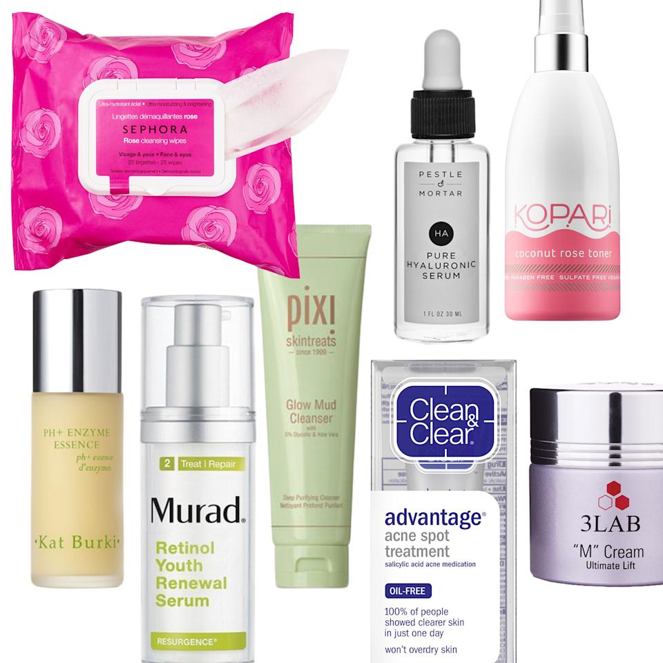 """<p><b>More from Allure:</b> <a rel=""""nofollow"""" href=""""http://www.allure.com/gallery/best-new-drugstore-beauty-launches?mbid=synd_yahoobeauty"""">50 New Drugstore Beauty Products We're Obsessed With</a></p><p><b>Sephora Collection Cleansing & Exfoliating Wipes in Rose</b></p><p>""""The second I get home, I reach for one of these glycerin-packed cleansing cloths to wipe away all my makeup, dirt, and grime in just a few swipes. I love that even though they're slightly scented, they're never too harsh on my sensitive skin.""""</p><p>$7.50 for 25 wipes (<a rel=""""nofollow"""" href=""""http://www.sephora.com/cleansing-exfoliating-wipes-P410148?mbid=synd_yahoobeauty"""">sephora.com</a>)</p><p><b>Pixi by Petra Glow Mud Cleanser</b></p><p>""""Every other day I suds up with this glycolic acid-spiked cleanser. My skin always feel superclean — never stripped — after every use.""""</p><p>$18 (<a rel=""""nofollow"""" href=""""https://www.pixibeauty.com/products/glow-mud-cleanser?mbid=synd_yahoobeauty"""">pixibeauty.com</a>)</p><p><b>Kopari Coconut Rose Toner</b></p><p>""""Post cleanse, I spritz (fine, soak) my face with this coconut-and-rose mist. It claims to target enlarged pores, but I really just love it for its coco-rosy scent. (I <em>really</em> like rose, if you couldn't tell.)""""</p><p>$24 (<a rel=""""nofollow"""" href=""""http://www.sephora.com/coconut-rose-toner-P416144?mbid=synd_yahoobeauty"""">sephora.com</a>)</p><p><b>Kat Burki PH+ Enzyme Essence</b></p><p>""""I'm going to be honest here: I <em>just</em> added this essence to my routine, but I'm already in love. Just a dollop leaves my skin slightly tingly — thanks to vitamin C and papaya enzymes — and smelling like a goddamn green juice.""""</p><p>$100 (<a rel=""""nofollow"""" href=""""https://katburki.com/product/ph-enzyme-essence?mbid=synd_yahoobeauty"""">katburki.com</a>)</p><p><b>Pestle & Mortar Pure Hyaluronic Acid Serum</b></p><p>""""After the essence, I apply a few drops of this uber-hydrating sodium hyaluronate-based serum, which, come morning, gives my skin a dewy, plumped look.""""</p>"""