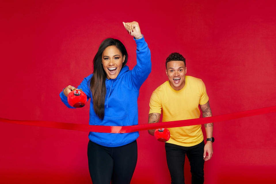 The One ShowÕs Alex Scott and Jermaine Jenas go head-to-head as they compete in the ultimate Red Nose and Spoon Race for Red Nose Day 2021. (photo by Nicky Johnston/Comic Relief)