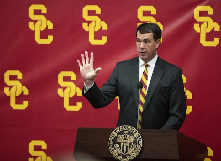USC athletic director Mike Bohn speaks during a news conference.