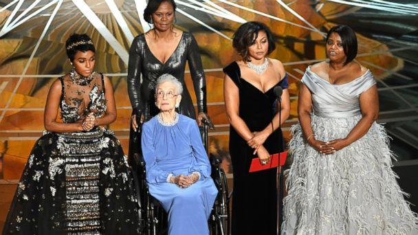 PHOTO: NASA mathematician Katherine Johnson (2nd L) appears onstage with (L-R) actors Janelle Monae, Taraji P. Henson and Octavia Spencer during the 89th Annual Academy Awards at Hollywood & Highland Center, on Feb. 26, 2017, in Hollywood, Calif. (Kevin Winter/Getty Images)